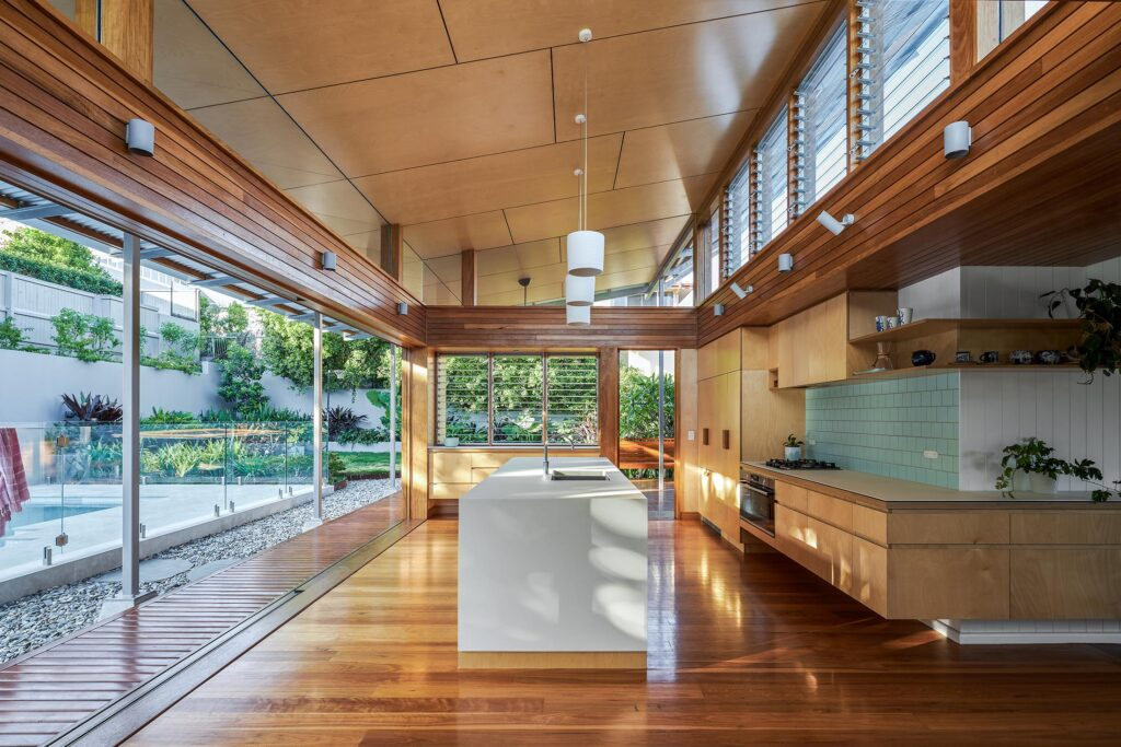 Kitchen of Architecturally designed custom-home, built by BlueBird Design & Build in Alderley Brisbane