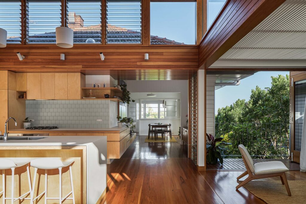 Living space of Architecturally designed custom-home, built by BlueBird Design & Build in Alderley Brisbane