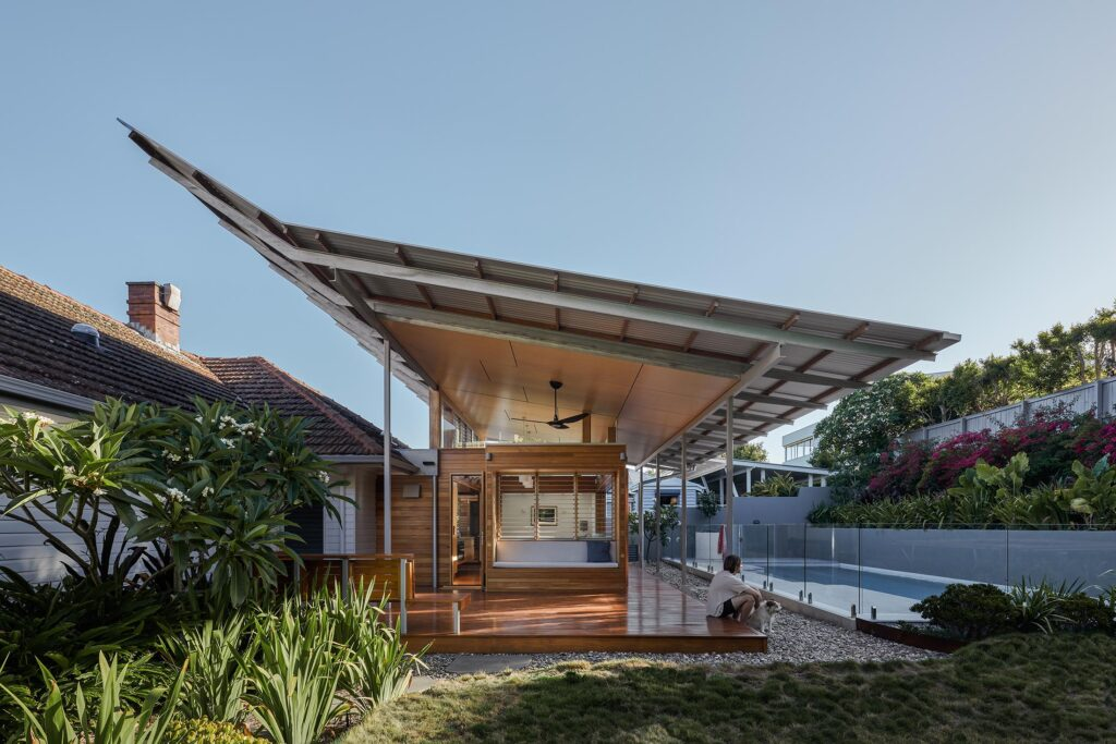 Facade of Architecturally designed custom-home, built by BlueBird Design & Build in Alderley Brisbane